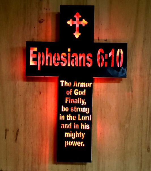 Wood Cross sign,Cross night light,Inspirational cross,Religious cross,Ephesians 6:10, wall  art,Church wall cross,Christian wall cross