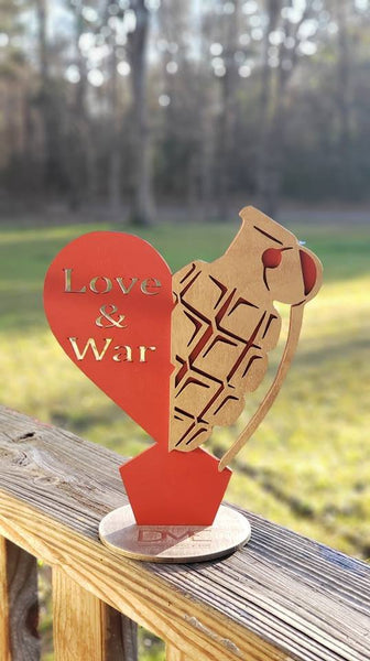 Love and War Custom Party centerpiece,Grenade centerpiece, Heart Custom centerpiece! Send us your design!