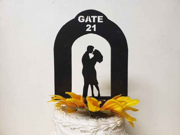 Airport wedding cake topper, Gate 21 Cake topper,Personalized Cake Topper,Cheers Topper,beer mugs,Tradition Topper,Anniversary top