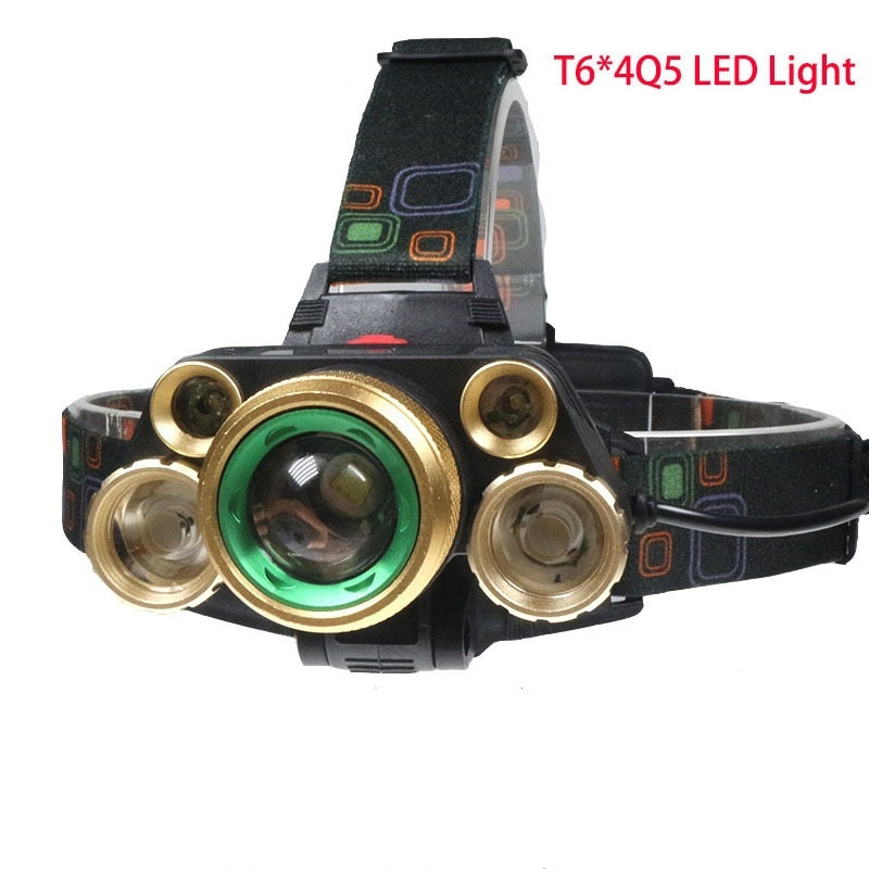 T6 + 4Q5 LED 2000LM USB rechargeable 18650 phare tête torche