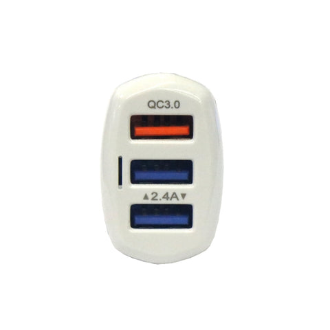 Image of QC3.0 3USB 5A Car Fast Charger - White