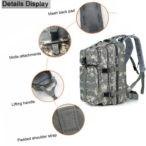 Image of Jungle camouflage Outdoor Military Rucksacks 1000D Nylon 30L Waterproof Tactical backpack Sports Camping Hiking Trekking Fishing Hunting Bags