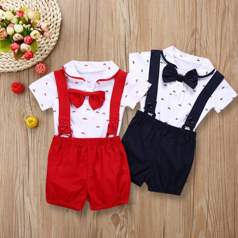 8eb8f96a35c5 Superb 2PCS Baby Infant Boys Short Sleeve Romper Clothes + Toddler Pants Set  Outfits Children s Costume Infant Jumpsuit Rompers