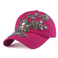 Baseball Cap Flower, rose red mit Blumeverzierung aus Strass