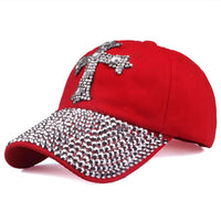 Baseball Cap mit Kreuz aus Strass , red