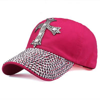 Baseball Cap mit Kreuz aus Strass , rose red