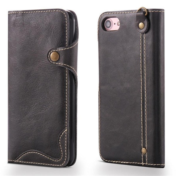 Echtleder Flip Case Wallet für iPhone 6-8 black