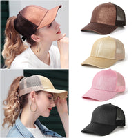 Ponytail Baseball Cap unifarben verstellbar in 13 Farben