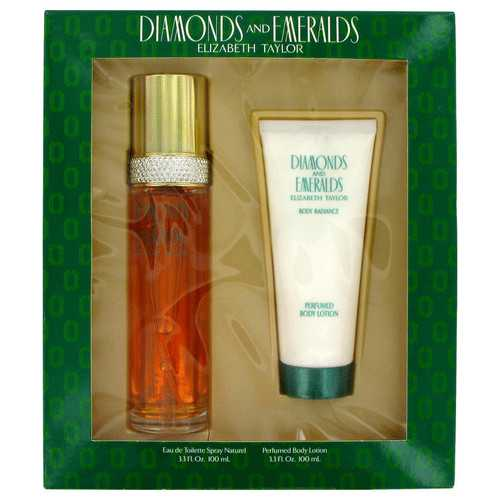 DIAMONDS & EMERALDS by Elizabeth Taylor Gift Set -- 3.3 oz Eau De Toilette Spray + 3.3 oz Body Lotion (Women)