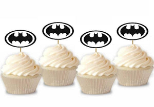 Set 20 buc Scobitori Cupcake Toppers Candy Bar Muffin Emblema Batman Negru-Alb