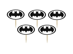 Set 20 buc Scobitori Cupcake Toppers Candy Bar Muffin Emblema Batman Alb-Negru