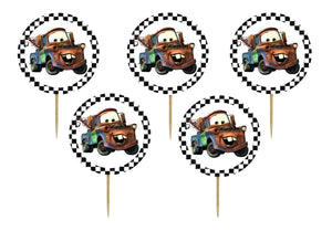 Set 16 buc Scobitori Cupcake Toppers Candy Bar Muffin Cars Bucsa Tow Matter
