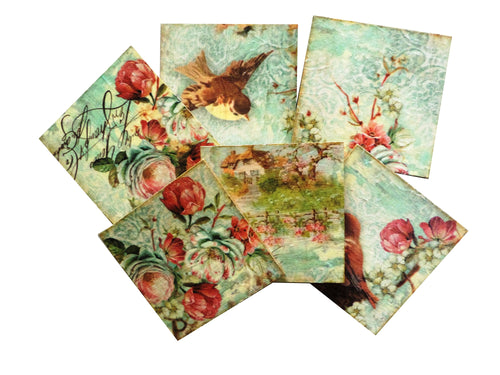 Set 6 Suporturi Pahare Placute Coasters Lemn Vintage Bird Post Card
