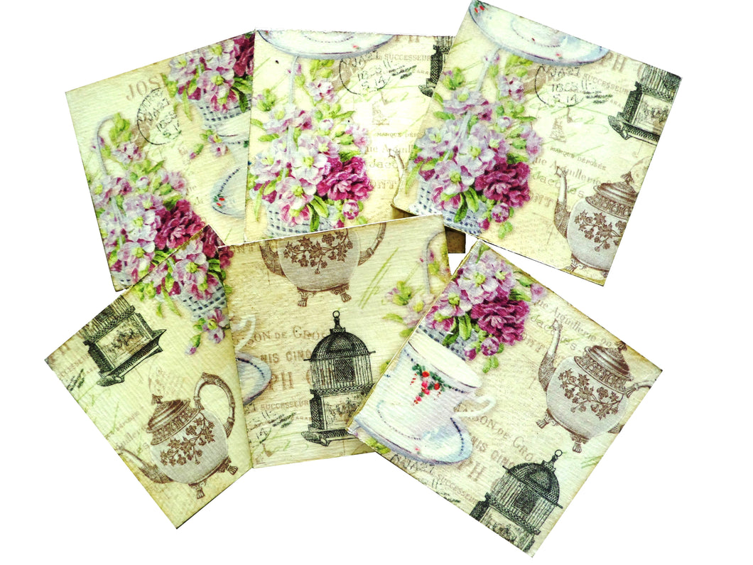Set 6 Suporturi Pahare Coasters Lemn Post Card Tea