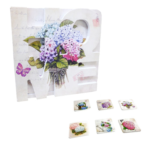Set 6 Suporturi Pahare Coasters Lemn Home Zambile Post Card