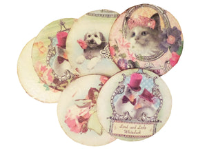 Set 6 Suporturi Pahare Coasters Lemn Retro Cat