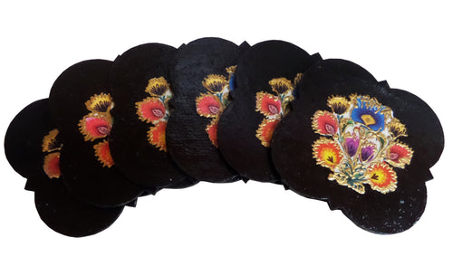 Set 6 Suporturi Pahare Coasters Placute Lemn Motive Poloneze Multicolore Black