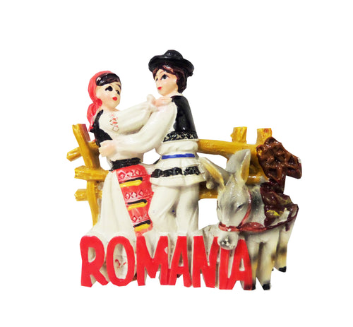 Magnet Decorativ Frigider Romania Motive Traditionale Pereche Tarani si Magarus