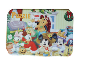 Puzzle Copii Set Disney 100 Piese Cutie Metalica Mickey Mouse