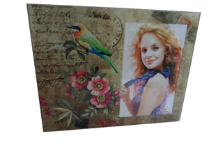 Rama Foto Sticla Green Bird Post Card