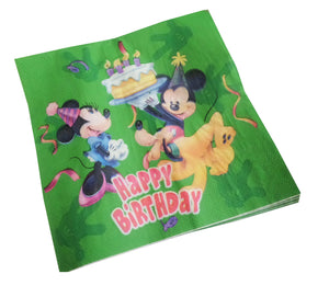 Set 6 Servetele de Masa de Petrecere Aniversare Party Tematice Mickey Mouse Green