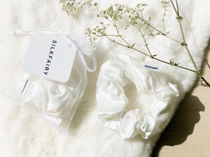 silkfairy silk scrunchie white