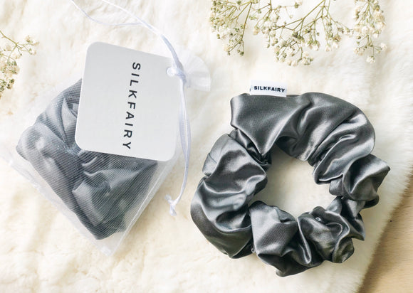 silkfairy silk scrunchie charcoal