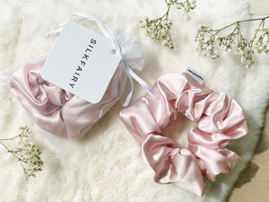 silkfairy silk scrunchie pink