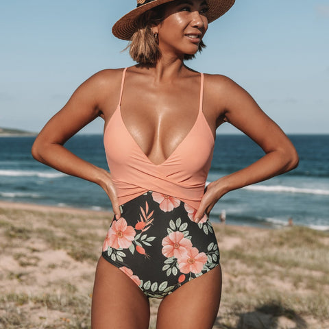 Twist Front Flower Print One Piece Swimsuits