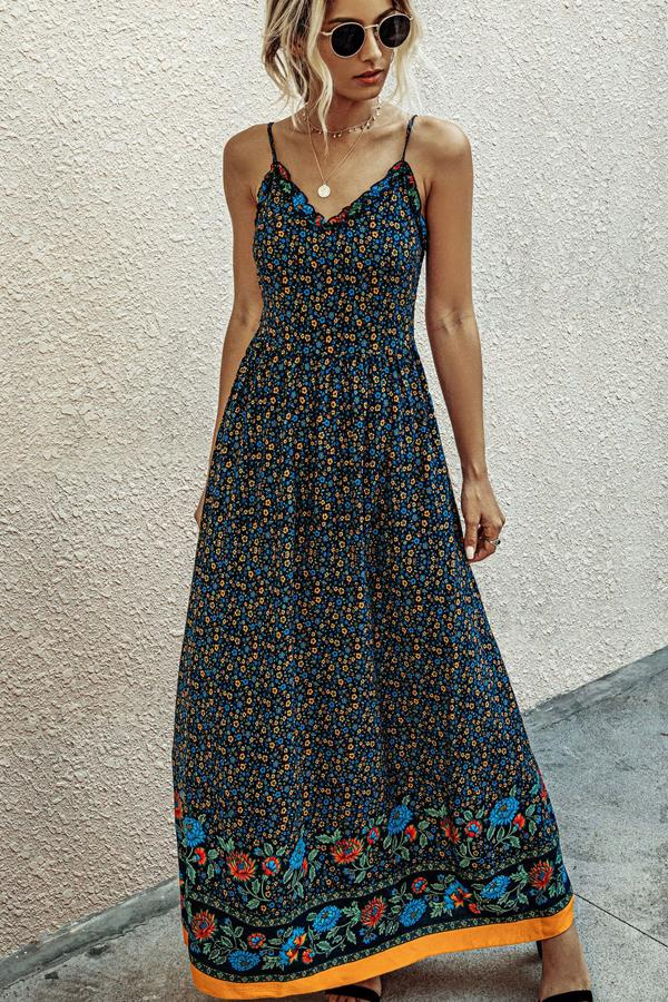 2 Colors Fashion V Neck Print  Backless Maxi Dress
