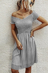 Fashion Short Sleeve Stripe Dress