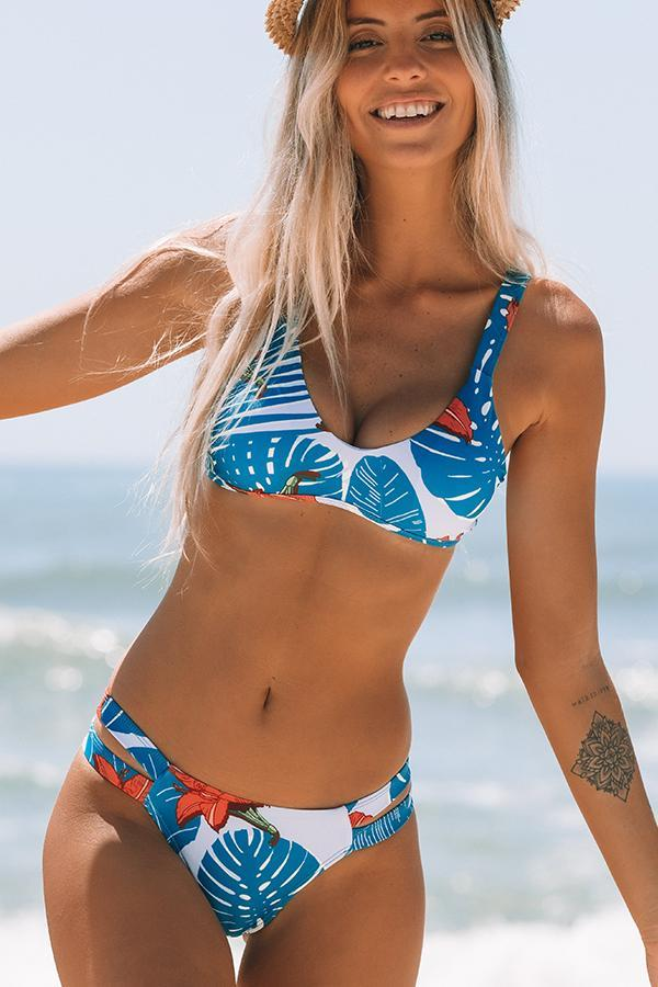 Leaf Print Low Waist Bikini Set
