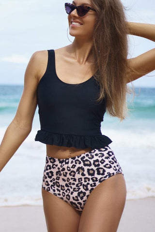 Leopard Print High Waisted Tankini Set