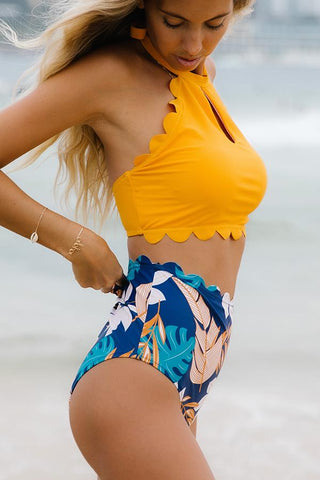 Scolloped Hem Leaf Print High Waist Bikini Set