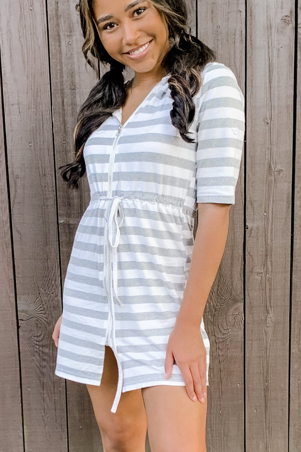 Stripe Print Zipper Up Mini Dress