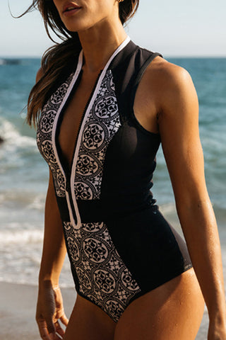 Black One-piece Surfing Rash Guard Swimsuit