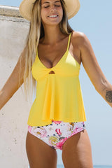Cute Girl Twist Front Flower Print Tankini Set