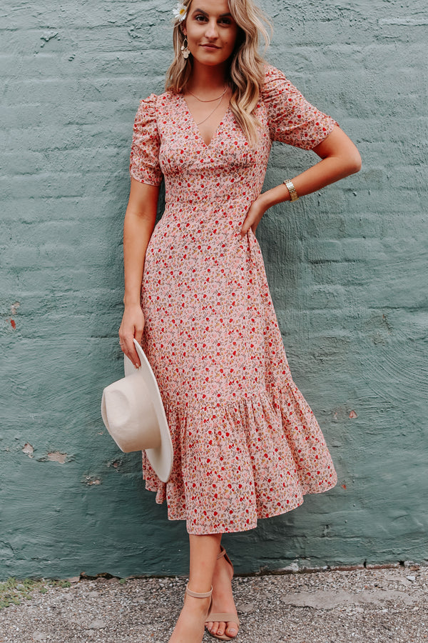 Floral Print V Neck Ruffle Hem Maxi Dress