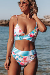 Flower&Stripe Print High Waisted Bikini Set