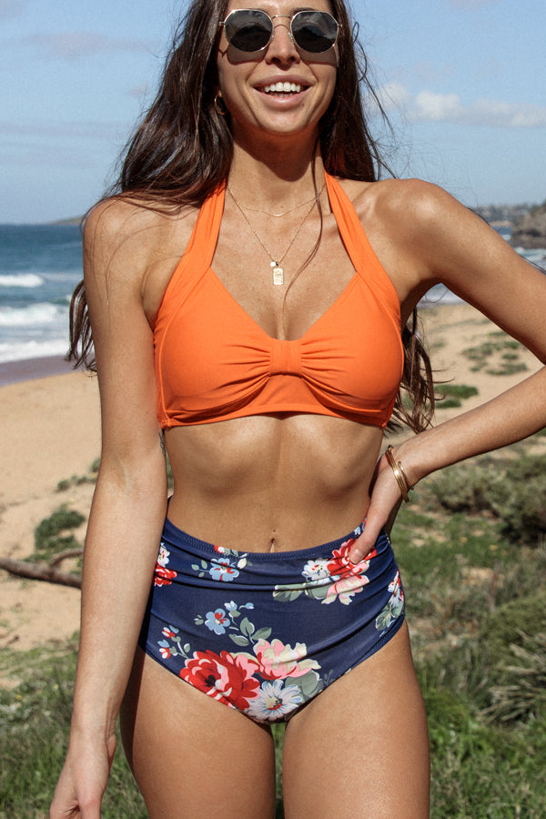 Halter Neck Flower Print Ruched Design Bikini Set