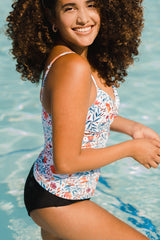 Floral Print Ruched Design Tankini Set