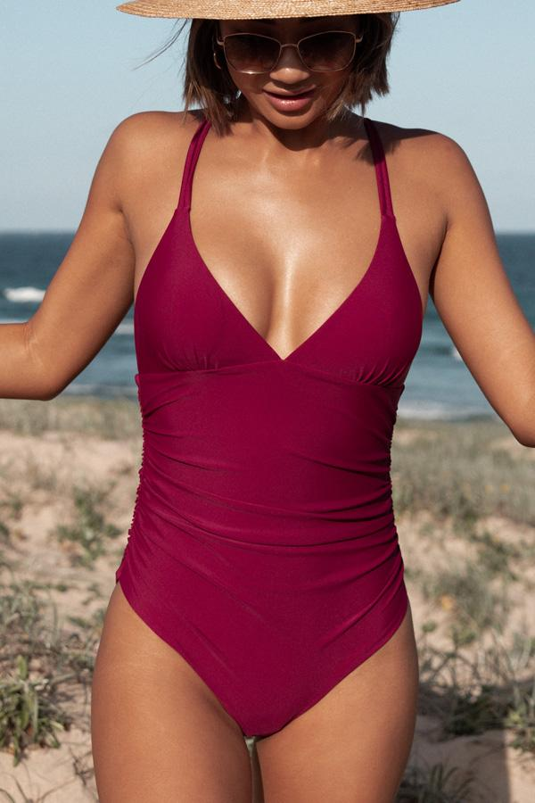 Solid Color Cross Back One Piece Swimwear