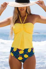 Halter Neck Fruit Print BandeauTankini Set
