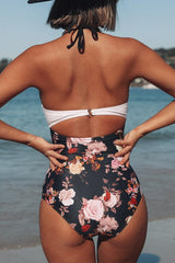 Twist Front Patchwork One Piece Swimwear