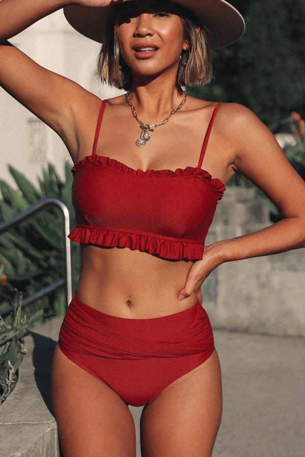 Stringy Selvedge Cross Front Bikini Set