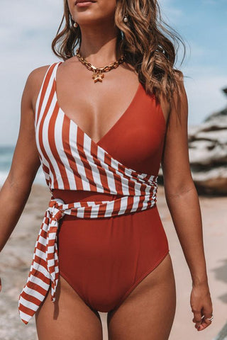 Stripe Print Patchwork Tie Design Sexy One Piece Swimwear