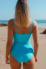 Solid Color Twist Front One Piece Swimwear