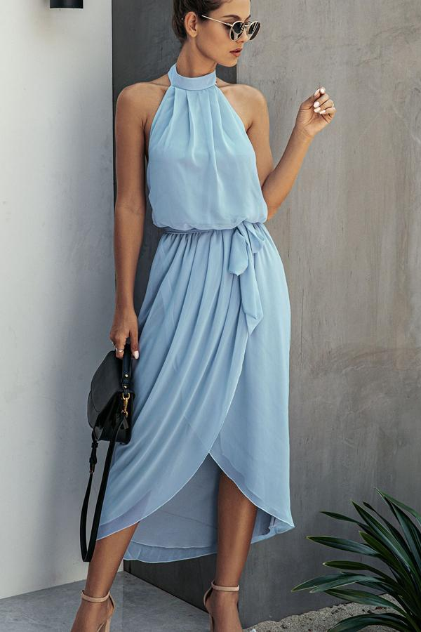 Halter Neck Tie Waist Casual Dress