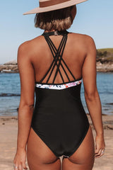 Halter Neck Patchwork Cross Back One Piece Swimwear