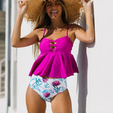 Cross Front Ruffle Hem Tankini Set
